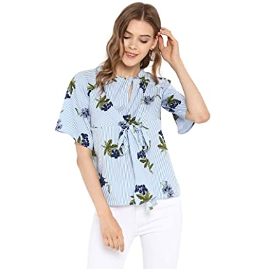 8e3b1ff50f4 Spotstyl Blue tie-Front Striped Floral for Women Western Casual Latest  Summer 2019 Women Tops Western Tops for Women Styish Fancy Women Apparel  Clothing ...