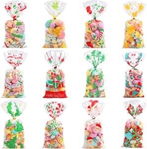 CCINEE Christmas Cellophane Bags,Xmas Assorted Treat Bags with Twist Ties Candy Cookie Bags for Party Supplies,144PCS