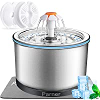 Cat Fountain Stainless Steel, Parner New-Version Ultra-Quiet Pet Water Fountain, Silver 2.5L Pet Water Dispenser with…