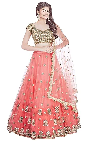 27af6c028 Narola Enterprise Women s Net Embroidery Semi-Stitched Lehenga Choli  (Gajri