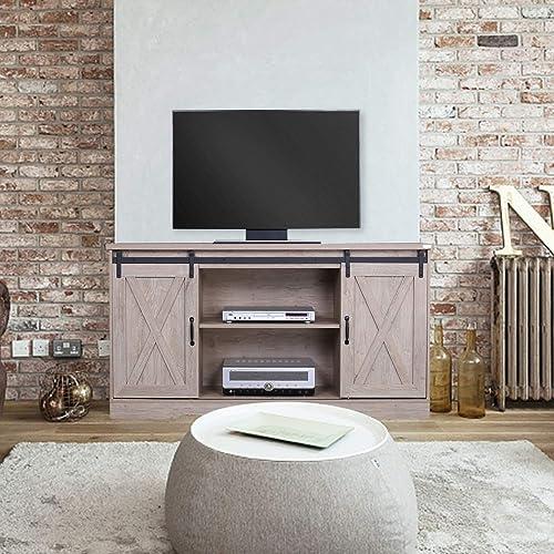 walnest Modern Farmhouse Furniture Wooden TV Stand Cabinet