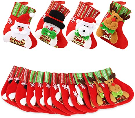 Dreampark Mini Christmas Stocking 16 Pack Xmas Stocking Christmas Tree Ornaments Decorations 6 Santa Snowman Reindeer Bear Character Home Kitchen