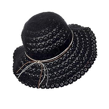 c03b09779e6cd6 schwarzer Strand Hut für Frauen Floppy zusammenklappbare Spitze Sommer  Sonnenhut mit verstellbarem Gurt und dekorativen Kordelzug Krawatten - UV  ...