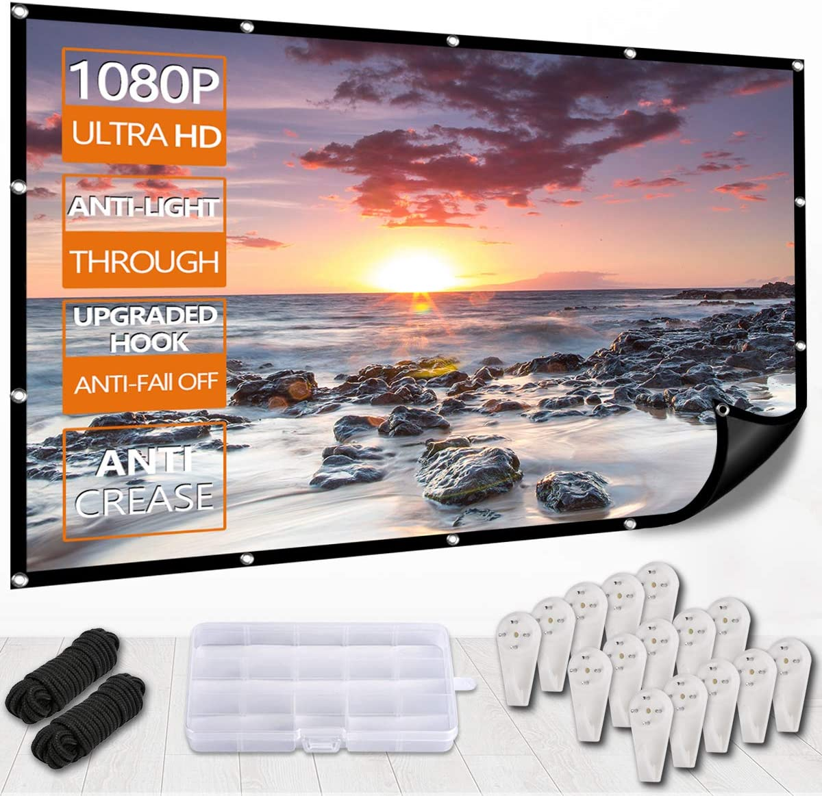 Foldable Anti-Crease Indoor Outdoor Projector Movies Screen with Hooks Portable Video Screen Widescreen 72inch 16:9 HD Projector Screen