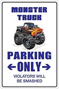 "StickerPirate Monster Truck Parking Only 8"" x 12"" Metal Novelty Sign Aluminum NS 097"