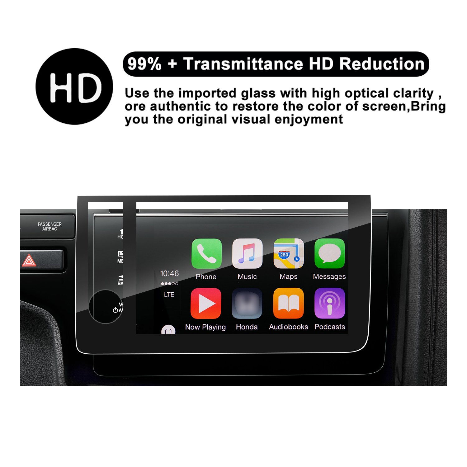R RUIYA HD Clear TEMPERED GLASS Protective Film Against Scratch High Clarity 2018Fit Special for 2018 Honda Fit Touchscreen Car Display Navigation Screen Protector