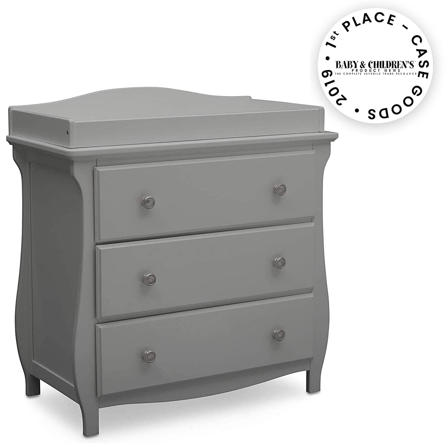 White Delta Children Lancaster 3 Drawer Dresser with Changing Top Bianca White and Contoured Changing Pad