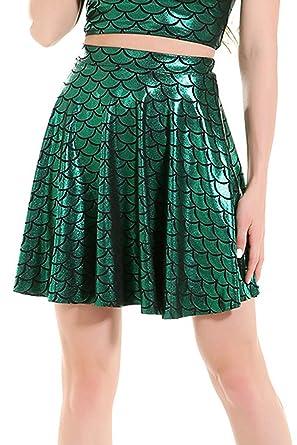 Jumojufol - Falda de Mujer con Escamas de Pescado - Verde - Small ...