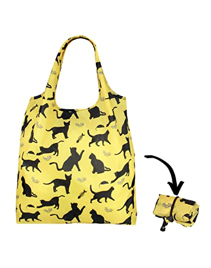Re-uz Lifestyle Shopper Bolsa plegable para comestibles de la compra reutilizable, diseño de gatos felices