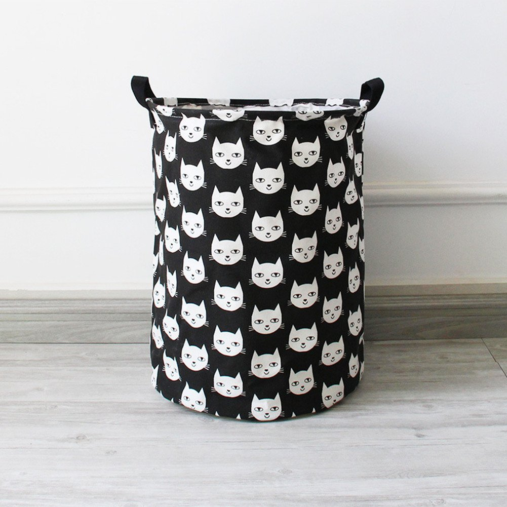 Collapsible Cotton Canvas Large Storage Basket, Waterproof Coating Fabric Laundry Basket/ Nursery Hamper – Toy Storage/Toy Box/ Toy Organizer for Boys and Girls - Black Cat