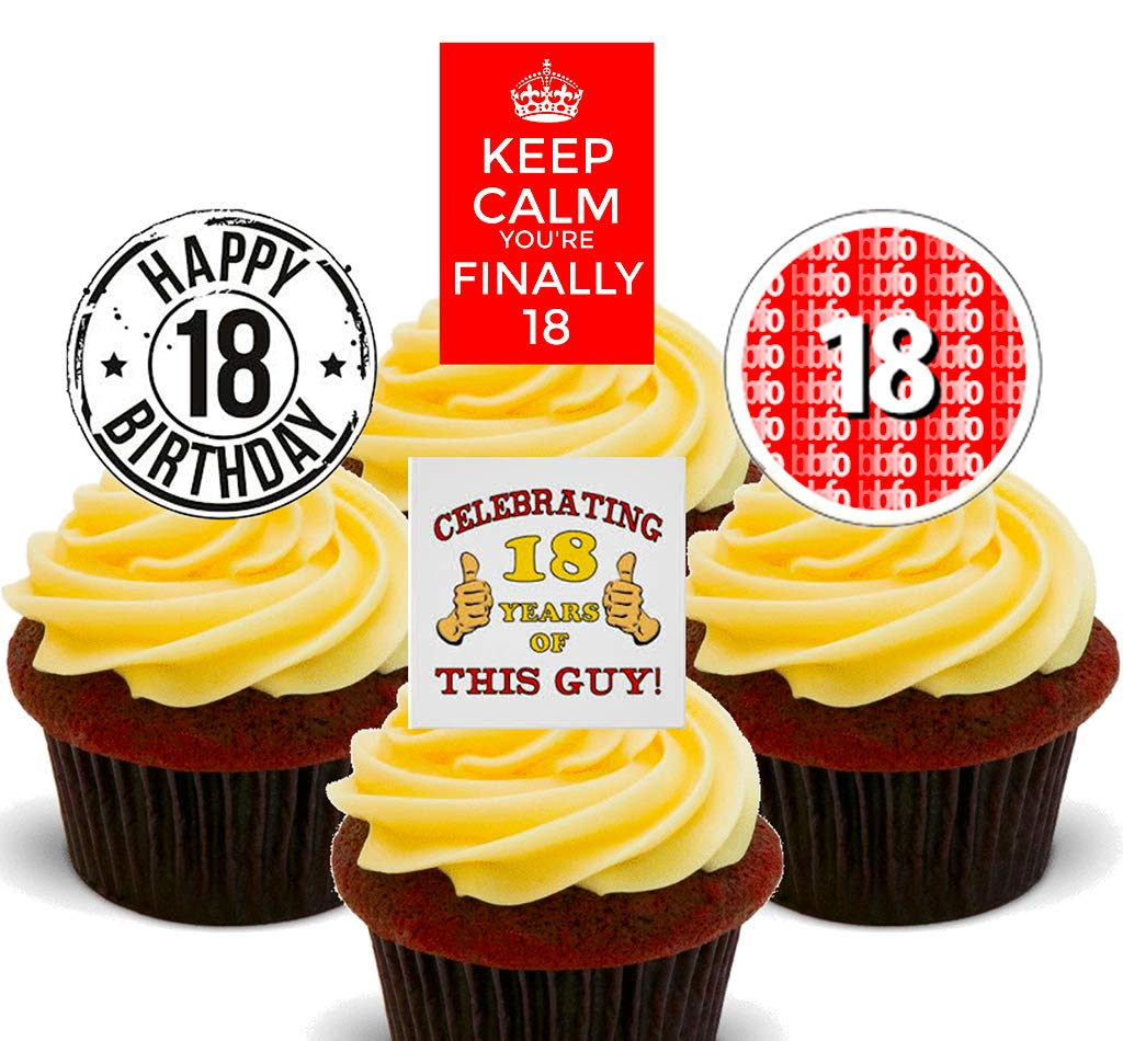 Wondrous Made4You 18Th Birthday Boy Edible Cupcake Toppers Stand Up Wafer Funny Birthday Cards Online Necthendildamsfinfo
