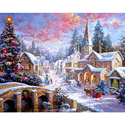 Clearance Sale D Diamond Painting Rhinestone Snow Christmas Small Town Lively Embroidery Wallpaper Diy Crystal Cross