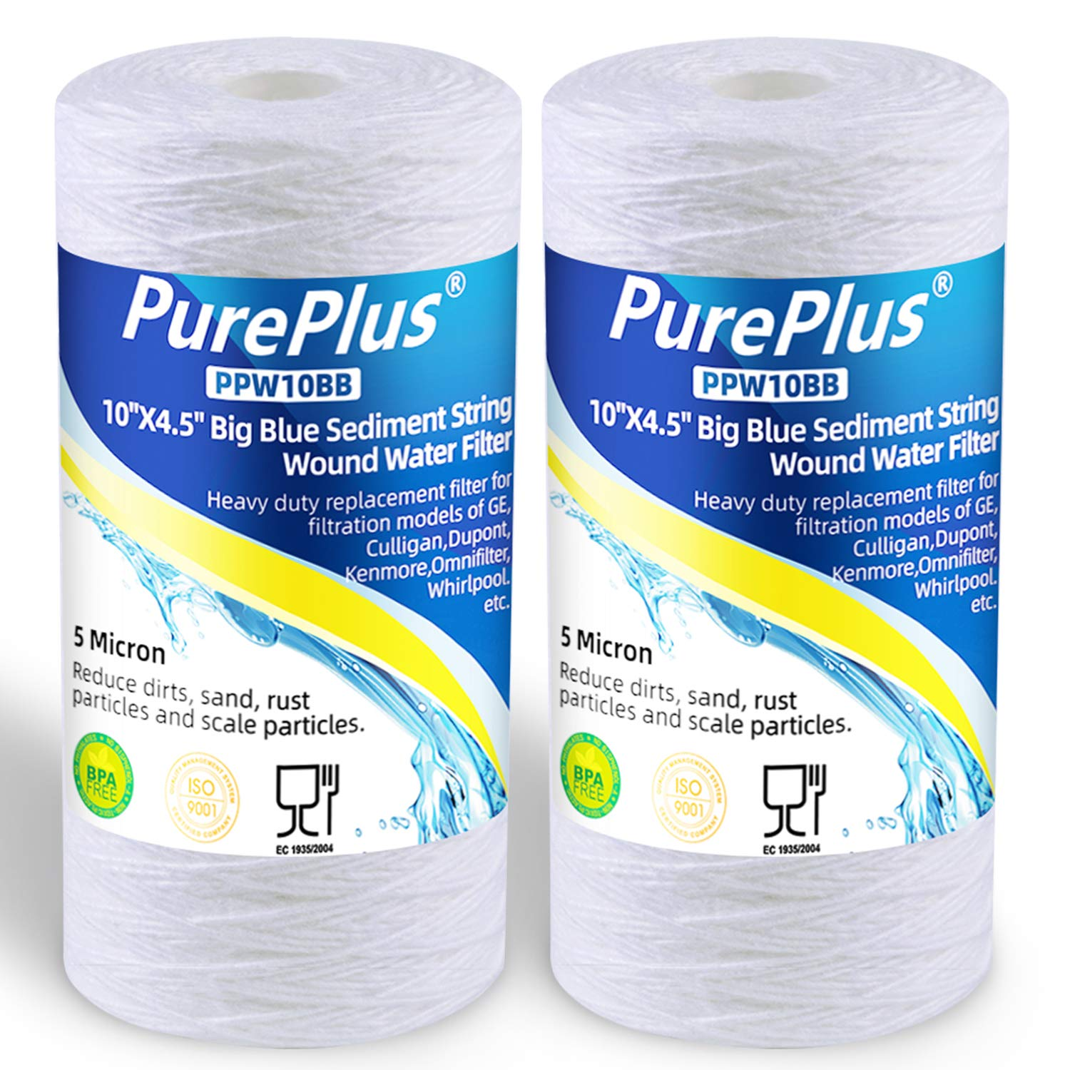 "PUREPLUS 5 Micron 4.5"" x 10"" Whole House Big Blue Sediment String Water Filter Replacement Cartridge Compatible with 84637, WPX5BB97P, PC10, 355214-45, 355215-45, WP10BB97P, WP5BB97P, 2-Pack"