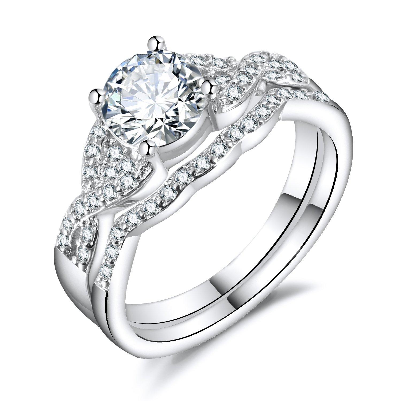 Hiyong Swirl Engagement Infinity Stacking Rings - Round Cut Cz Center Bridal Matching Band Set Size 5-11