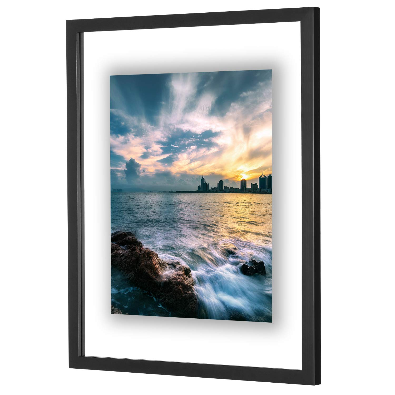 ONE WALL 16x20 Inch Floating Frame, Black Wood Double Glass Float Picture Frame Display 16x20/11x14 Inch Photos or Plant or Petal Specimens for Wall Hanging - Mounting Accessories Included by ONE WALL