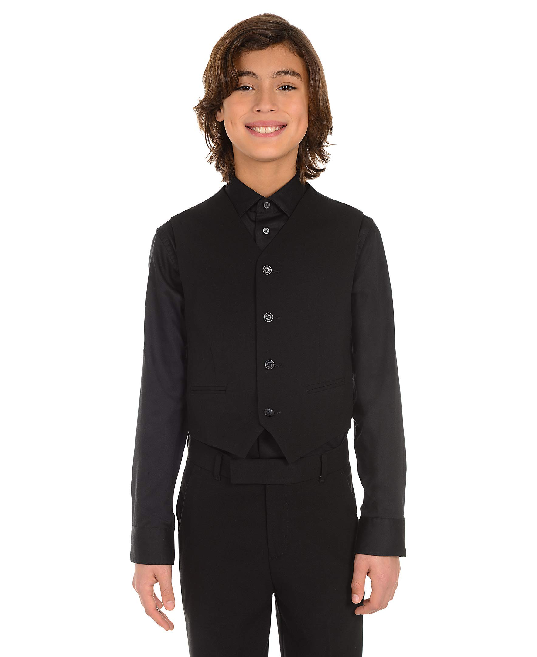 Calvin Klein Dress Up Big Boys' Bi-Stretch Vest, Black, Small by Calvin Klein (Image #4)