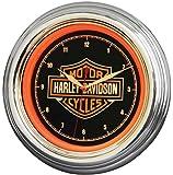 Harley-Davidson Bar & Shield Orange LED Wall Clock - 12in.