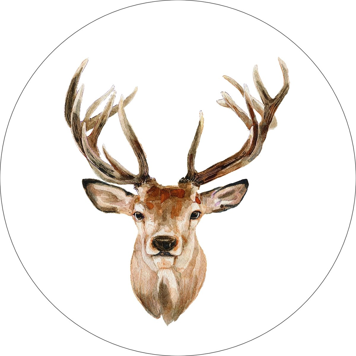Buck Deer Home Wall Shelf Decor Animal Decorations Watercolor Round Sign - 12 Inch, Plastic