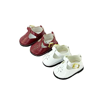 "#17 2 Pack of Mary Janes with Buckle: Burgundy and White-Fits 18"" American Girl Dolls, Madame Alexander, Our Generation, etc. 