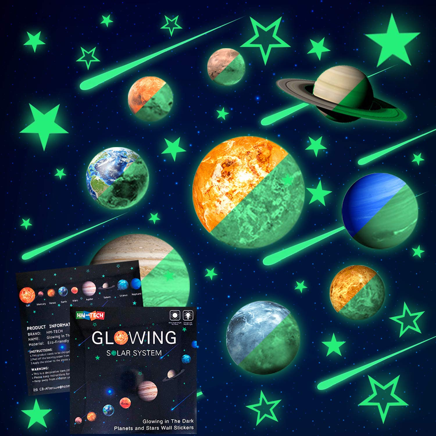 Glow in The Dark Stars and Planets, Bright Solar System Wall Stickers -Sun Earth Mars,Stars,Shooting Stars and so on,9 Glowing Ceiling Decals for Bedroom Living Room,Shining Space Decoration for Kids by HM-TECH