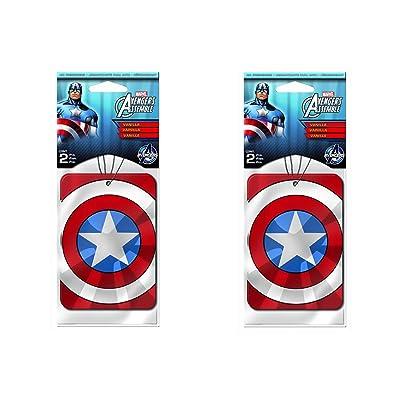 Captain America Paper Air Freshener x 2 Packs (4 pcs Total): Automotive