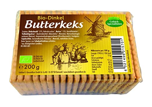 Liebhart´s Gesundkost Bio-Dinkel Butterkeks, 200 g: Amazon.de ...