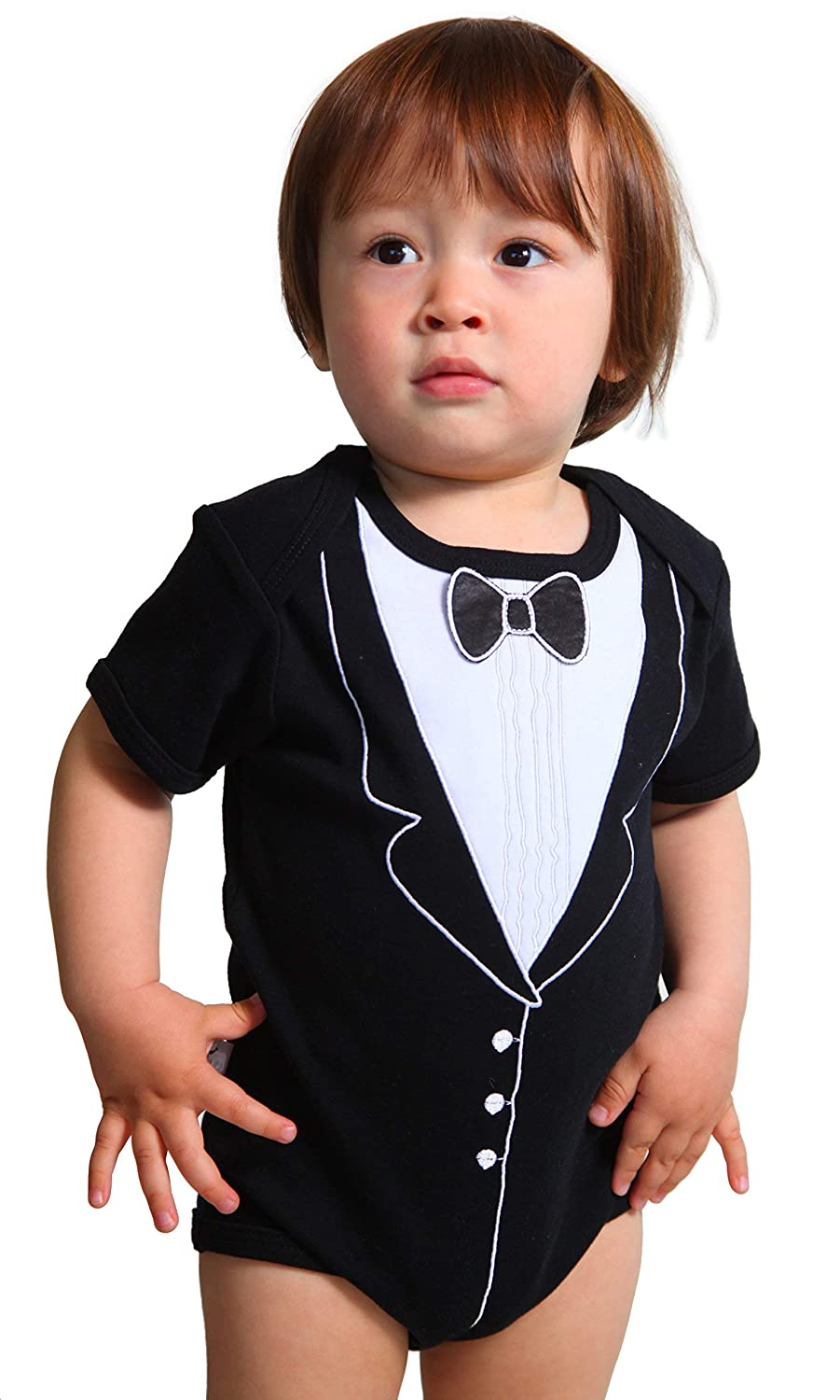 Frenchie Mini Couture Tuxedo Fancy Dress Up Bodysuit With Embroidery and 3D Bowtie, 0-3 months