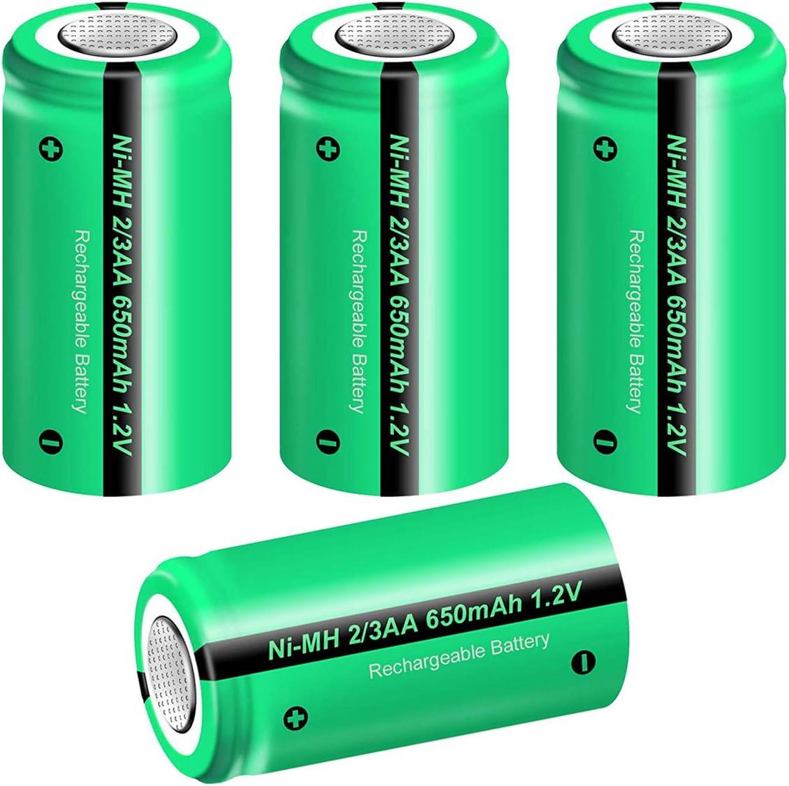 Batteria ricaricabile Ni-Mh 2//3AA 2//3 AA 1,2V 600mAh 14x29mm accumulatore per lampade pin piatto