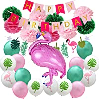 LELE 29 pcs Party Decorations Set Including 10 Paper Fans 16 Balloons 1 Flamingo Balloon 1 happy birthday banner 1 Hawaii Banners
