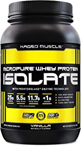 Kaged Muscle Whey Protein Powder, 100% Whey Protein Isolate for Post Workout Recovery, Vanilla, 3lbs