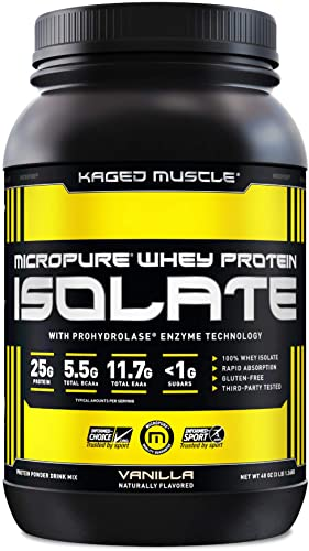 Kaged Muscle Whey Protein Powder, 100 Whey Protein Isolate for Post Workout Recovery, Vanilla, 3lbs