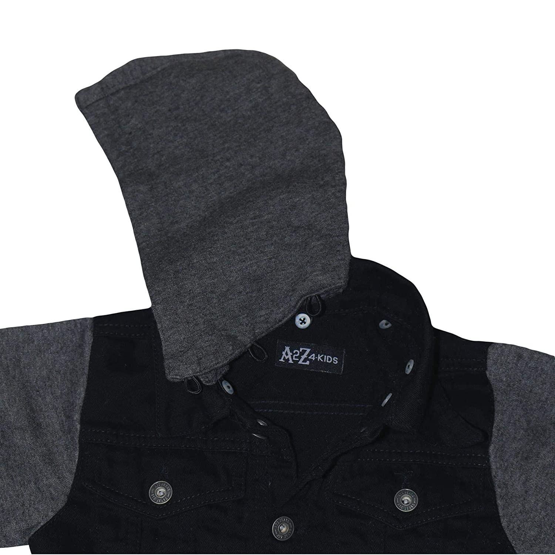 Kids Boys Denim Jacket Fleece Sleeves /& Hood Fashion Jackets Coat Age 2-13 Years