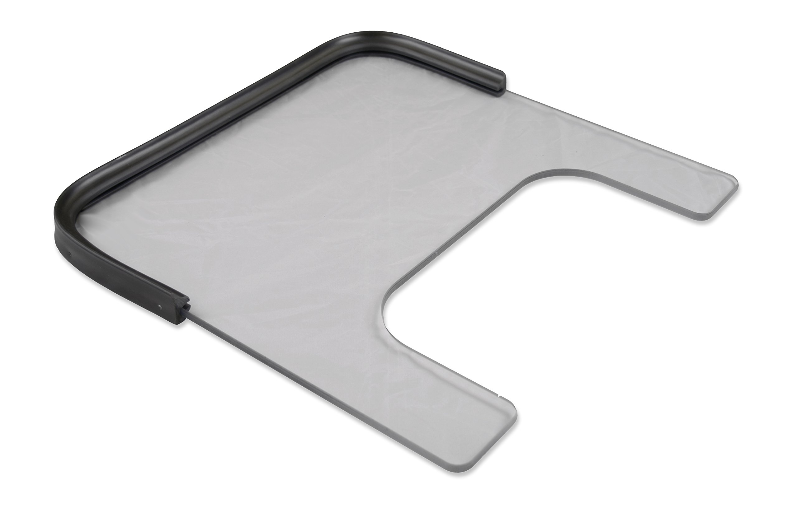 """Rehabilitation Advantage 3/8"""" Polycarbonate Wheelchair Tray (Adult) with Rubber Rim and Included Velcro Straps"""