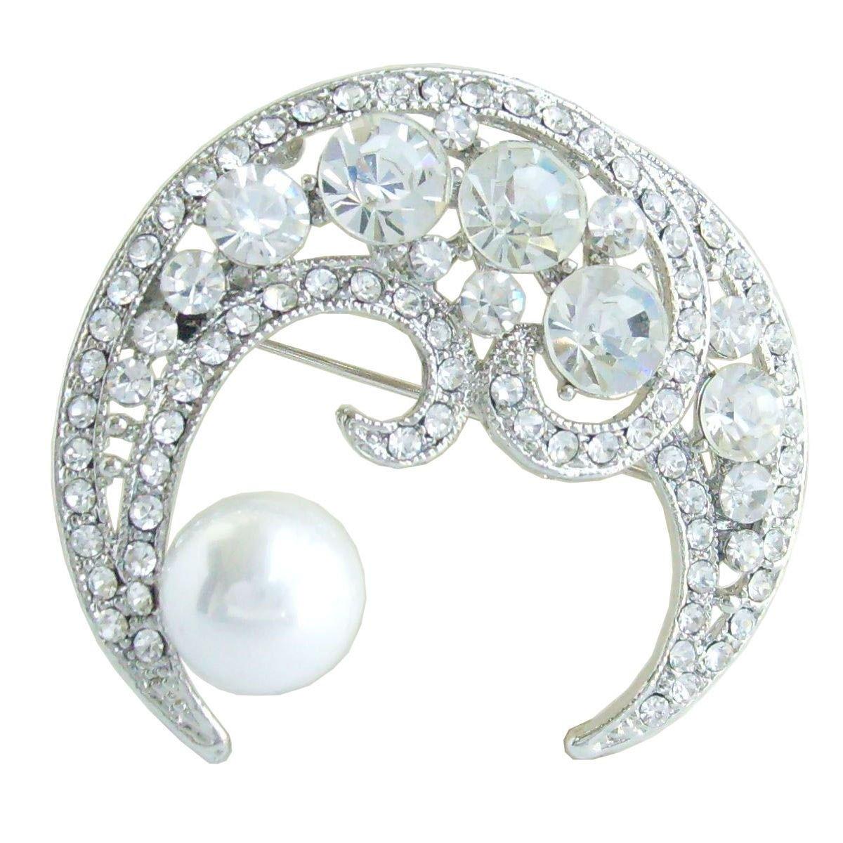 Sindary Wedding 1.97'' Silver-tone Pearl Austrian Crystal Half Moon Brooch Pin