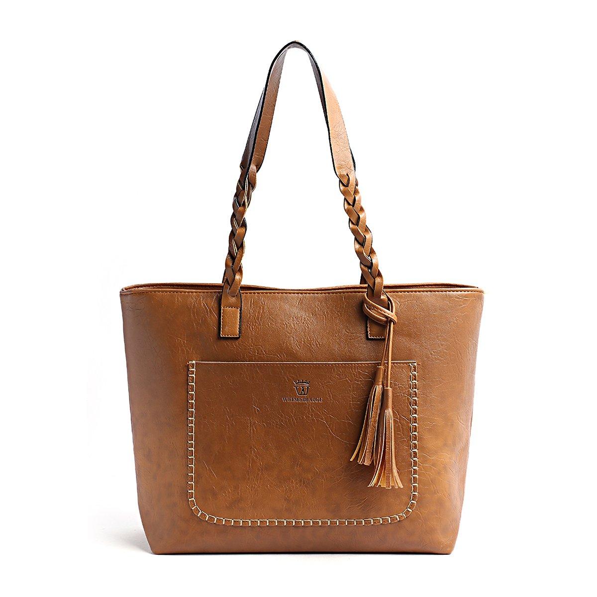 Women Vintage Tote Bag, OURBAG Ladies PU Leather Tote Shoulder Bag Handbag Purse Big Large Brown by OURBAG