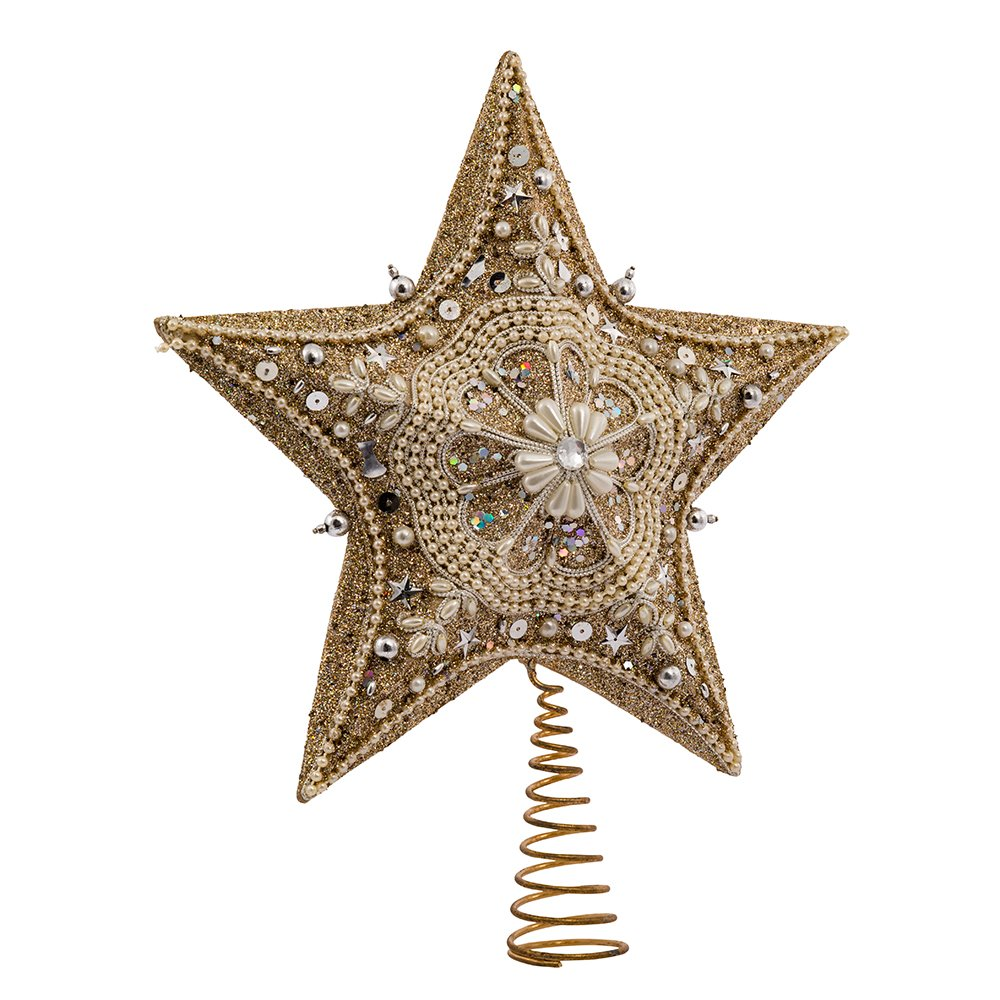 Kurt Adler 13.5-inch Star Treetop with Ivory Pearls and Platinum Glass Glitter S4306