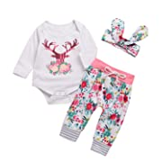3PCs Baby Pink Reindeer Print Long Sleeves Romper Headband Pant Outfit Set (0-6M(Tag70), White&Pink)