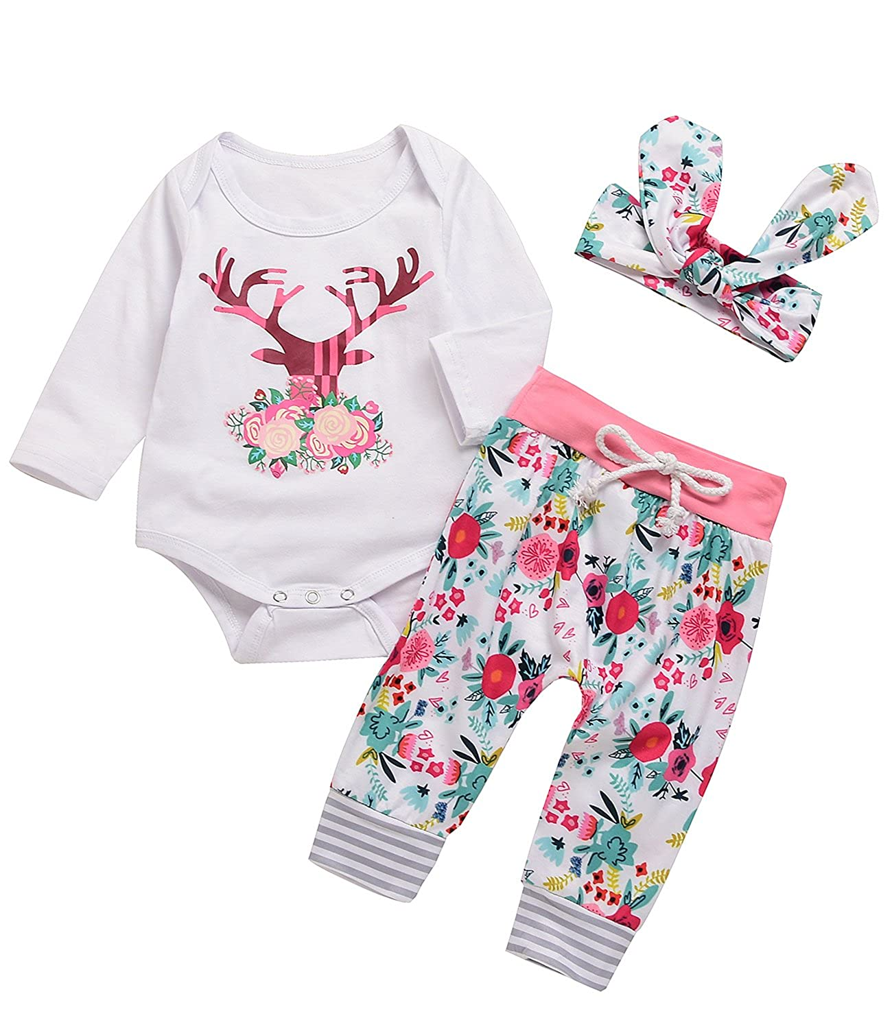 3PCs Baby Pink Reindeer Print Long Sleeves Romper Headband Pant Outfit Set