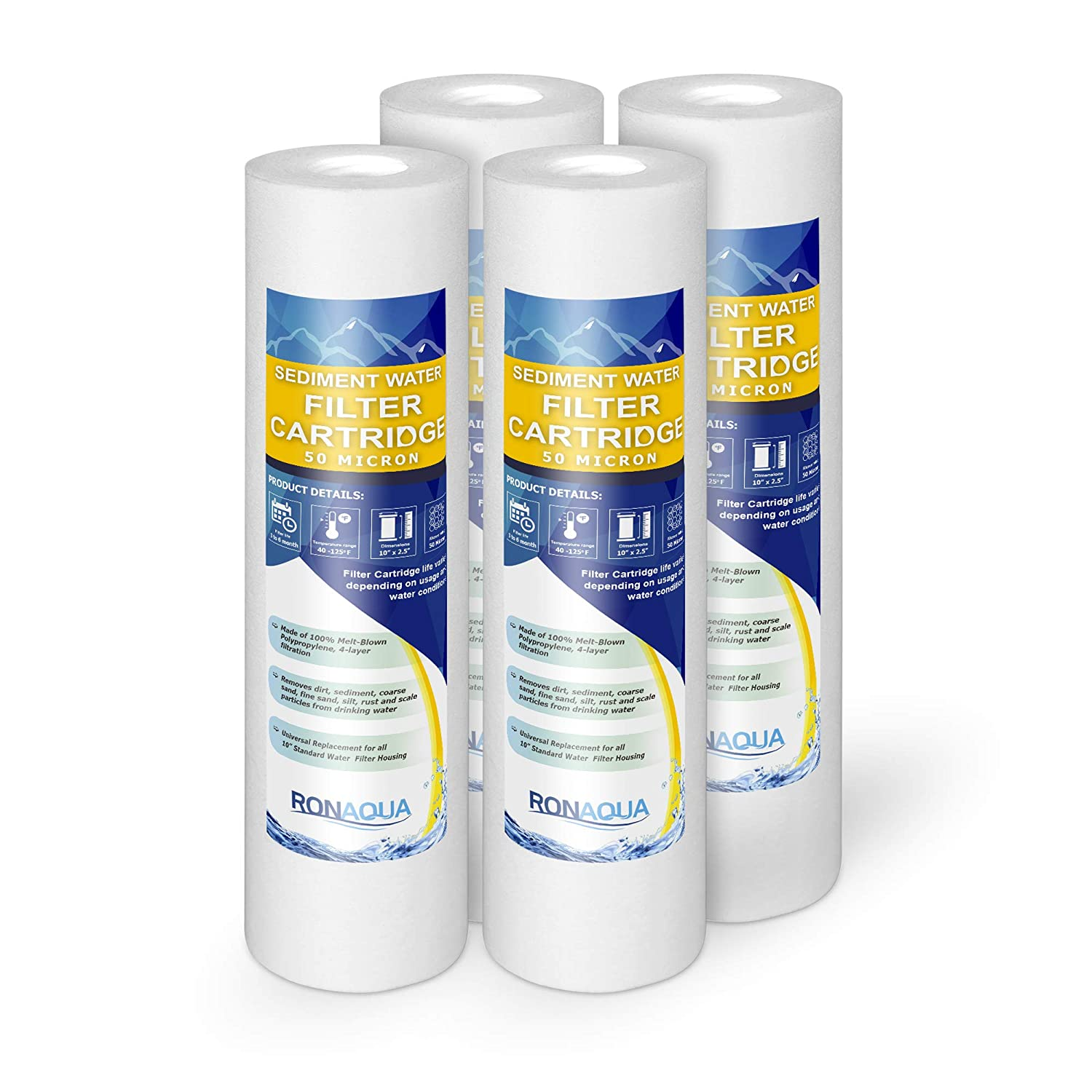 50M-4PK 50-Micron Sediment Water Filter Cartridge WELL-MATCHED with P5, AP110, WFPFC5002, CFS110, RS14, WHKF-GD05, 4-Pack