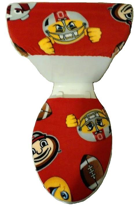 BATHROOM FLEECE TOILET SEAT COVER SET*OHIO STATE BUCKEYES EMOJI*