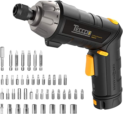 Electric Cordless Screwdriver Rechargeable, Professional Torque 6Nm, 4V Max 2.0Ah Li-ion, 9 1 Torque Gears, 44 Bits, Adjustable 2 Position Handle with LED Torch, USB Charging