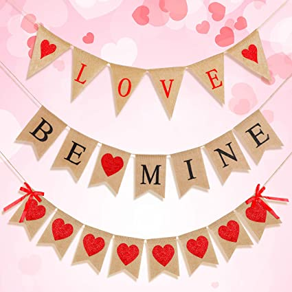 Valentine Valentine fabric bunting Aqua and red bunting Modern Valentine bunting Modern holiday decor Valentine garland heart bunting