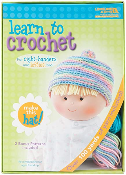 Amazoncom Leisure Arts Learn To Crochet Kit Baby Hat
