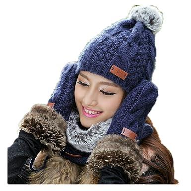 Lucky Beth Winter Warm Women Wool Hat Scarf Gloves Set Knitted Hat Scarf  Mitten 0391c64fb9c