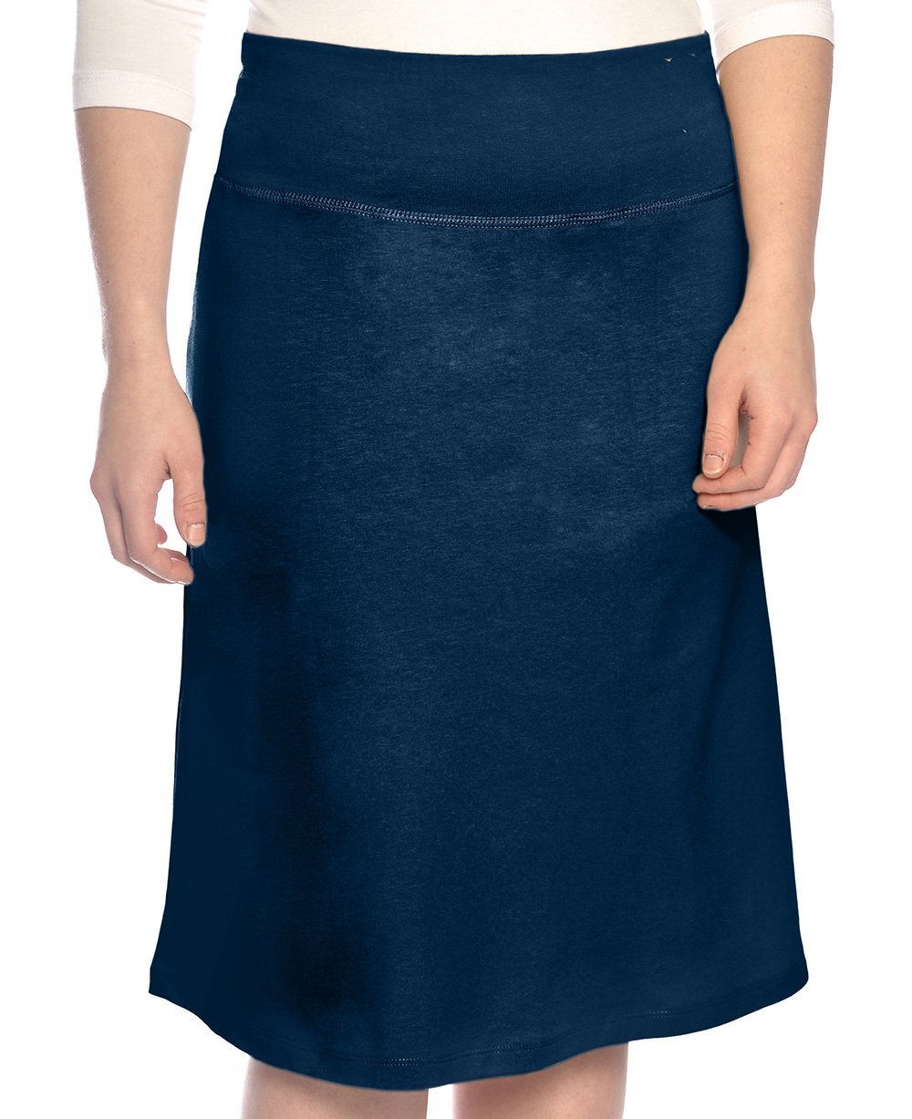 Kosher Casual Kids Big Girls' Modest A-Line French Terry Cotton Spandex Knee Length Sports Skirt XL Navy