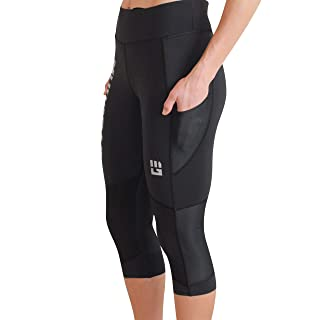MudGear Women's Flex-Fit Capri Pants - Power Stretch Crop Leggings with Flattering High Waist for Running, Yoga, Gym Workouts, Sports and Fitness (Small, Black)