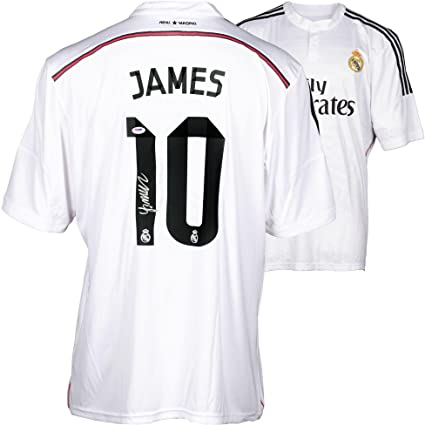 James Rodriguez Real Madrid Autographed White Jersey - Fanatics Authentic  Certified - Autographed Soccer Jerseys 0a9dbb243