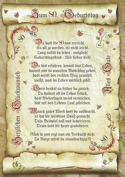 Geschenk 80 Geburtstag Gedicht Präsent Jubiläum Amazonde