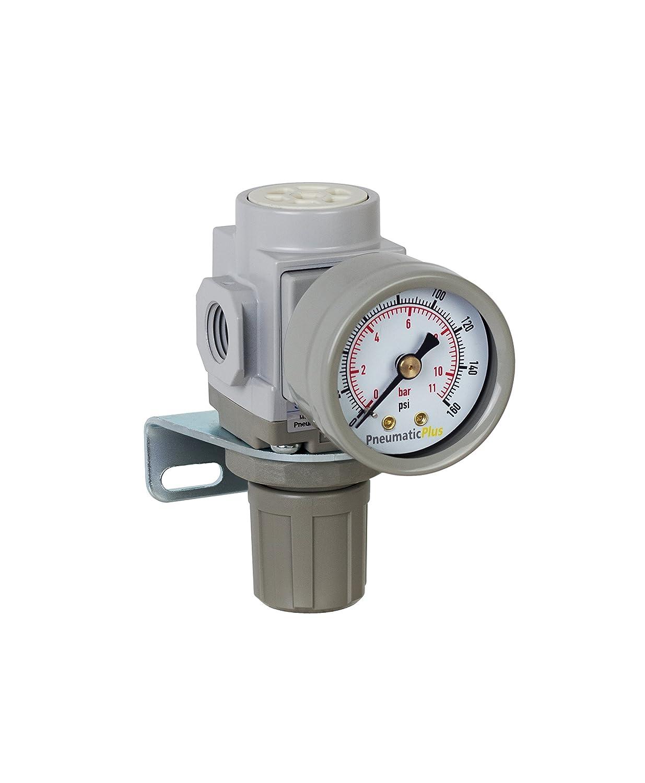 "PneumaticPlus SAR200-N02BG Miniature Compressed Air Pressure Regulator 1/4"" NPT - Bracket, Gauge"