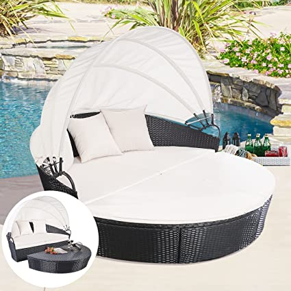 Tangkula Outdoor Patio Sofa Furniture Round Retractable Canopy Daybed Black  Wicker Rattan